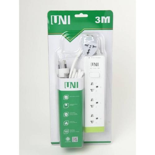 UNI รางปลั๊กไฟ 3 ช่อง 1 สวิตซ์ ยาว 3 เมตร PS-3GN-3M สีขาว -เขียว