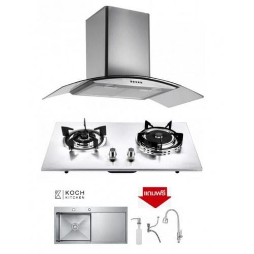 Koch Kitchen ชุดเซ็ทเครื่องดูดควัน +เตาแก๊ส +อ่างซิงค์ COQUINA01+Clásico KH-05+HMT-10050-SA