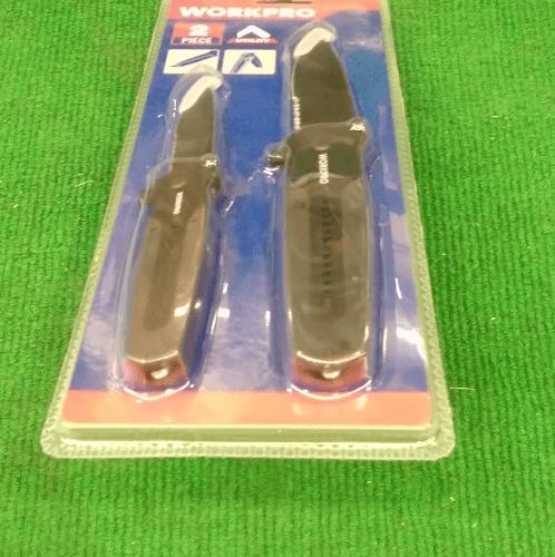 WORKPRO ชุดมีดพก 2 ชิ้น W000313  สีดำ