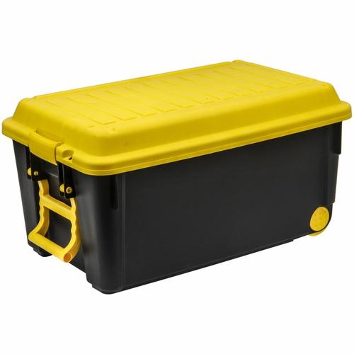 GOME กล่องเก็บของพร้อมมือจับ+ล้อ HEAVY 65 ลิตร ขนาด 65x41x34 ซม. TG51885B สีดำ/เหลือง