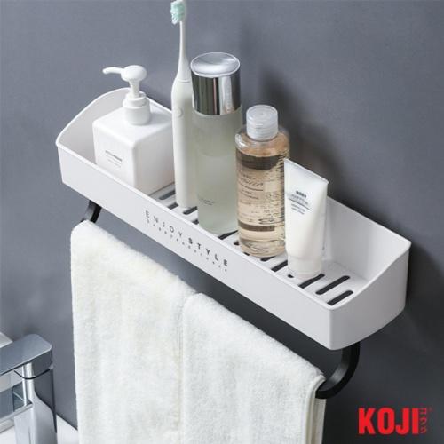 KOJI ถาดวางของ พร้อมที่แขวนผ้าติดผนัง ขนาด 10.5x40.5x7 cm. 2JYS041-WH สีขาว
