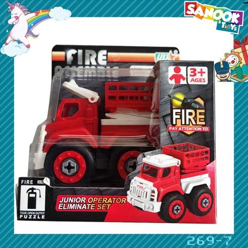 Sanook&Toys ของเล่นรถกระเช้ากู้ภัย DIY #269-7 (9.7x16x14ซม.) สีแดง