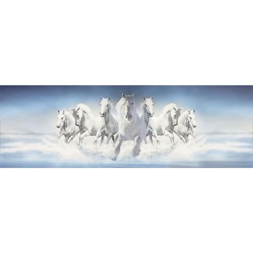 NICE รูปภาพพิมพ์ผ้าใบ ขนาด 40x120ซม. กลุ่มม้าสีขาววิ่ง  Fengshui C12040-3